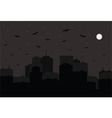 Halloween background Night city silhouette vector image
