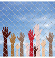 Hands Behind a Wire Fence2 vector image