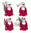 Cartoons Santa Claus with gifts and reindeer vector image