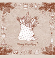 christmas card with sack full of gifts gift boxes vector image