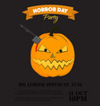 halloween party invitation scary pumpkin vector image