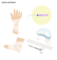 Sprains and Strains with The Medical Treatment vector image