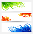 Set brochure templates with flower frames vector image vector image