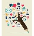 Social media networks pencil tree vector image vector image