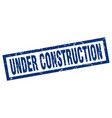 square grunge blue under construction stamp vector image
