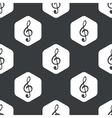 Black hexagon music pattern vector image