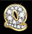 letter q gold and diamond vector image