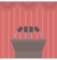 Background of tribune speech with microphones vector image