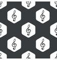 Black hexagon music pattern vector image