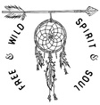 Dream catcher and arrow tribal legend in Indian vector image