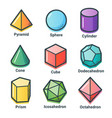 flat line isometric shapes vector image