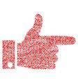 hand pointer right fabric textured icon vector image