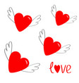 red heart set with wings cute cartoon contour vector image
