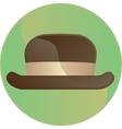Retro brown hat symbol button vector image