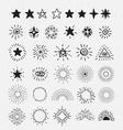 Set Of Vintage Sunburst and stars Hand-Drawn vector image