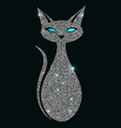 silver cat with blue eyes vector image