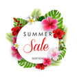 summer sale round background with flowers vector image