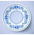 White plate in gzhel style vector image