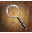 Wooden Background With Magnifying Glass vector image