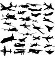 set of planes silhouettes vector image
