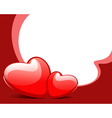 two red shiny hearts vector image vector image