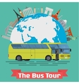 The Bus Tour of popular familiar landmarks vector image