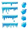 blue icicles and frozen puddles vector image