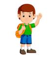 boy with backpacks cartoon vector image