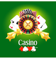 casino american roulette money cards game green vector image
