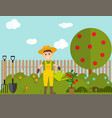 farmer gardener man with watering can and tomato vector image