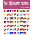 flags of European countries flat icons vector image