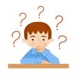 Student sitting at her desk asks vector image