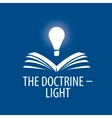 logo lamp illuminates book vector image