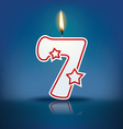 Candle number 7 with flame vector image