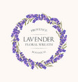 card with lavender wreath vector image