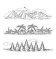 Doodle hand drawn landscapes vector image