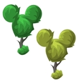 Funny trees round shape cartoon style vector image