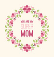 Mothers Day Greeting Card with Flowers and Text - vector image