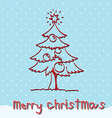 red christmas tree with snow vector image