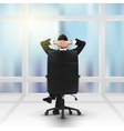 relaxing successful businessman and window vector image