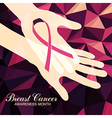 Ribbon of Breast Cancer on abstract pink vector image