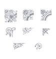 set of decorative corner ornaments vector image
