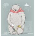 polar bear with little girl vector image