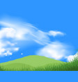 Green grass field with blue sky vector image