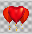 Colour glossy heart shape helium balloons isolate vector image