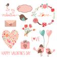 Happy valentines day set vector image
