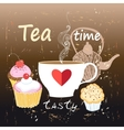 tea and cakes with cherries vector image