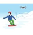 Snowboarding and remote drone with camera vector image