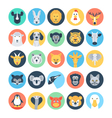 Animal Avatars Flat Icons 1 vector image