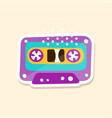 cassette tape cute sticker in bright colors vector image